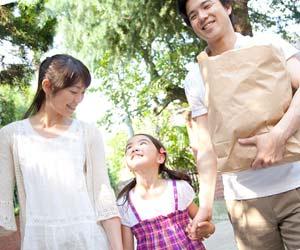 両親と手を繋いで歩く子供