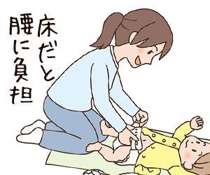 床に寝かせた赤ちゃんのオムツ替え