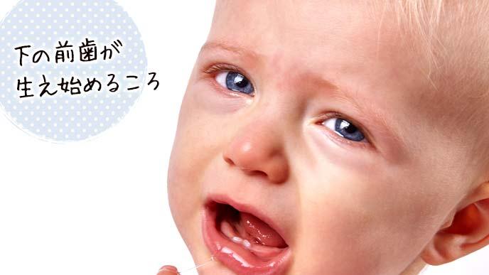 下の乳歯が生え始めた赤ちゃんが涙目