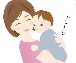 赤ちゃんを抱っこして優しくトントン