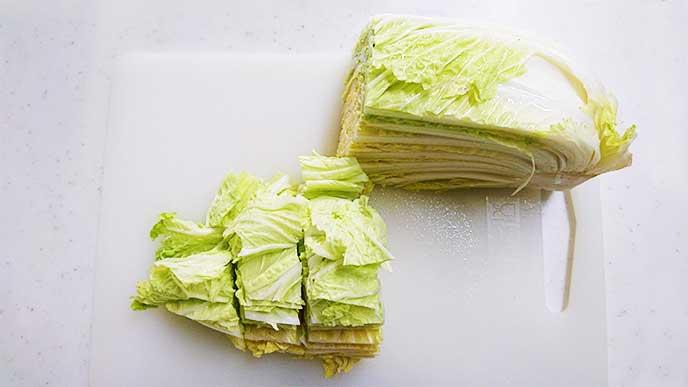 ざく切りされた白菜