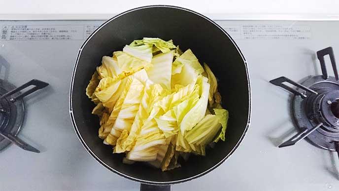 蒸しにされてる白菜
