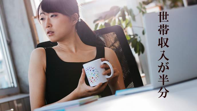 会社で世帯収入を考える女性