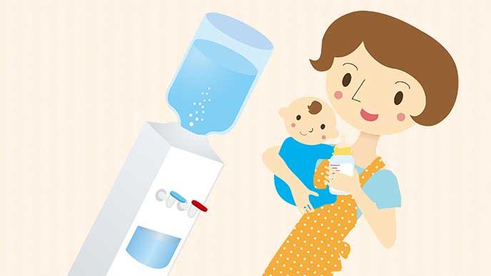 ウオーターサーバーでミルクを作ってる赤ちゃんを抱っこした母親のイラスト