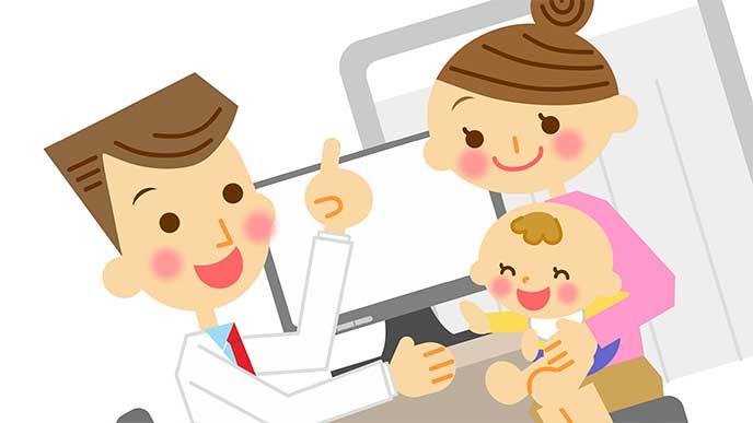 赤ちゃんを連れて産婦人科で医者に相談してる母親のイラスト