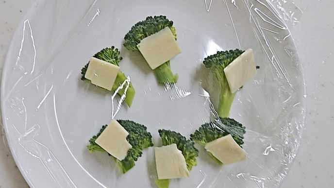 耐熱皿にあるチーズがのせられた一口サイズのブロッコリー