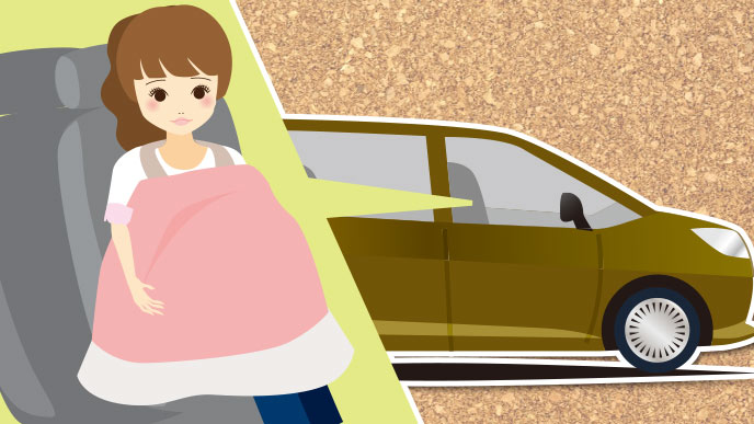 イラスト:車と授乳ケープをつけたお母さん