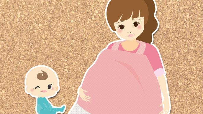 イラスト:赤ちゃんと二人目の授乳をしているお母さん