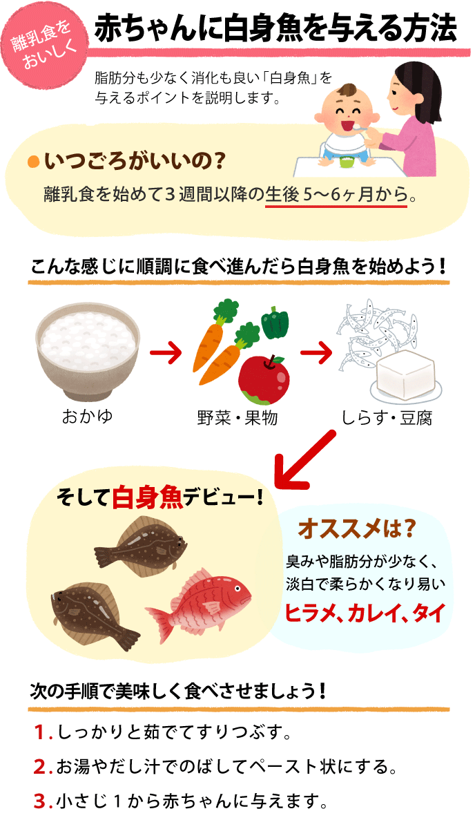 離乳食を美味しく食べさせる「赤ちゃんに白身魚を与える方法」を説明したイラスト