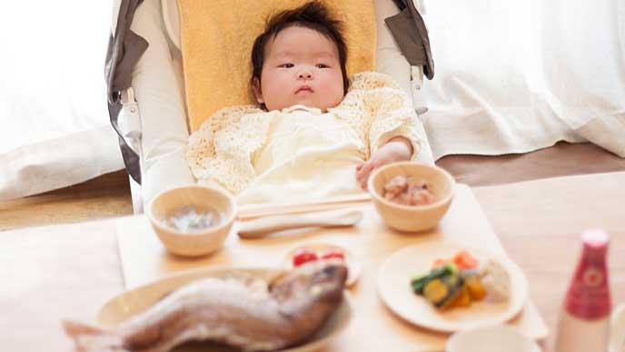 百日祝いでお食い初めの赤ちゃん