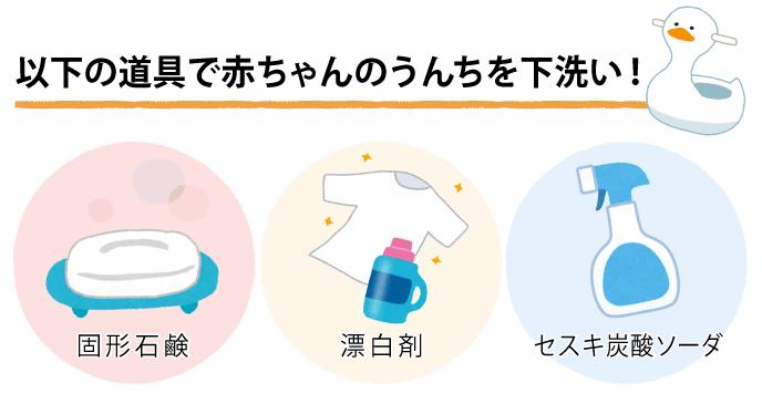 赤ちゃんのうんちの下洗いに使う道具をまとめたイラスト