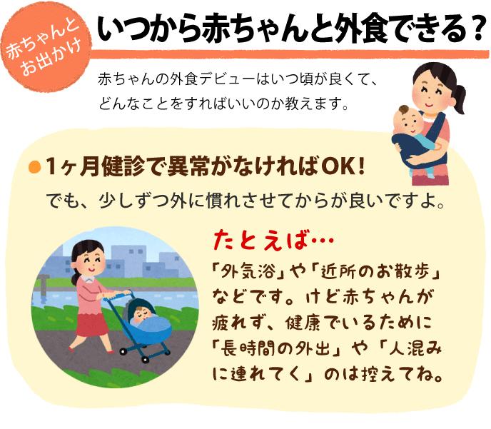 赤ちゃんと外食できるのはいつからか説明