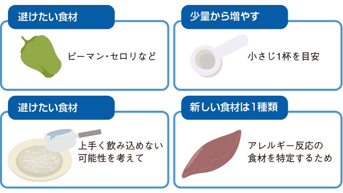 図解:離乳食の増やし方のポイント