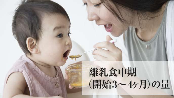 お母さんに離乳食をたべさせてもらっている子供