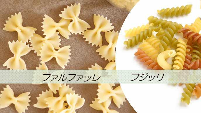 蝶ネクタイ型のファルファッレと螺旋状のフジッリ
