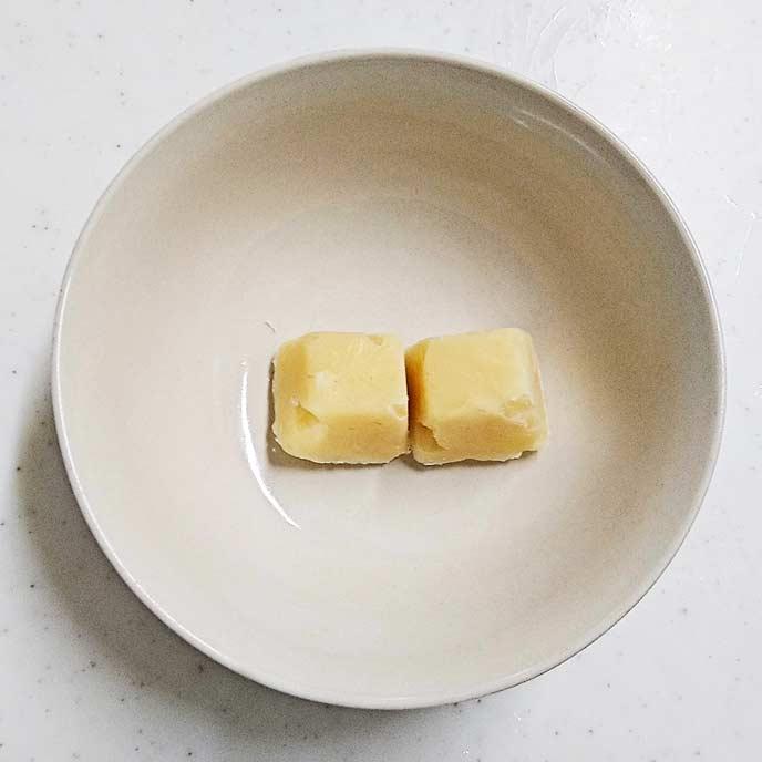 キューブ状に冷凍された豆乳クリームパスタ