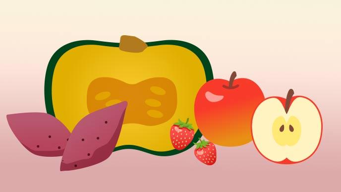 カボチャ、サツマイモ、リンゴ、いちご