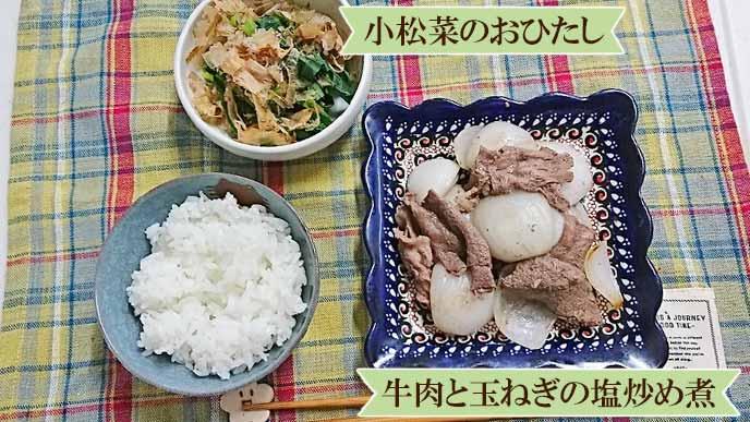 盛り付けられたご飯、牛肉と玉ねぎの塩炒め煮、小松菜のおひたし