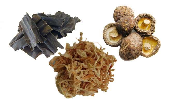 昆布、シイタケ、大根の乾物