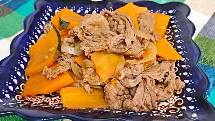 牛肉とかぼちゃのオイスターソース炒め