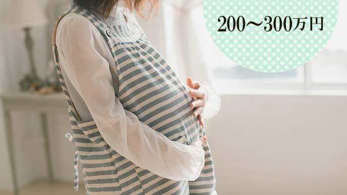 お腹を押さえる臨月の妊婦