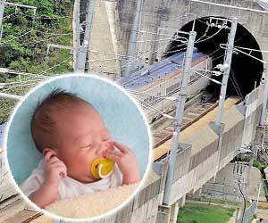 トンネルに入る新幹線