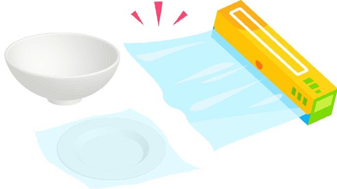 お皿にもラップをセット