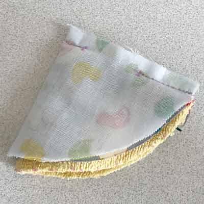 表布に重ねた裏布の断面