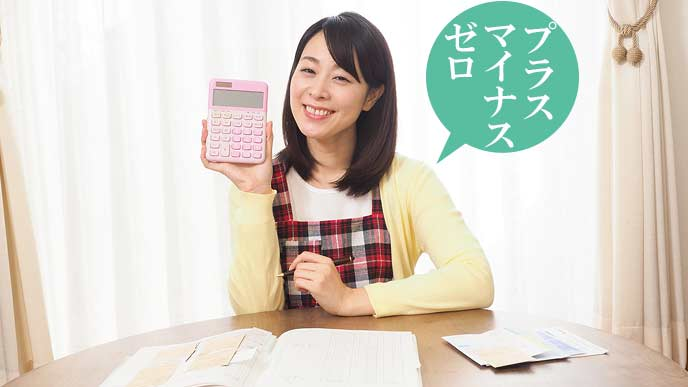 家計簿うつけながら満足気な女性