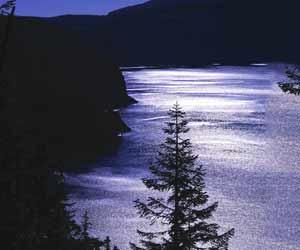 湖に反射する月光